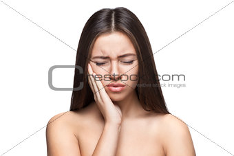 beautiful caucasian woman angry portrait isolated