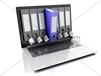 3d laptop and secret folder. Data security concept
