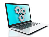 3d laptop and gears. Isolated on white background