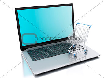 3d Shopping cart. Online shopping concept