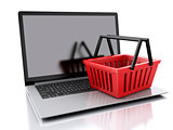 3d Shopping basket. Online shopping concept