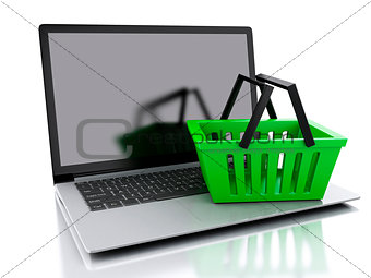3d Shopping basket. Online shopping concept