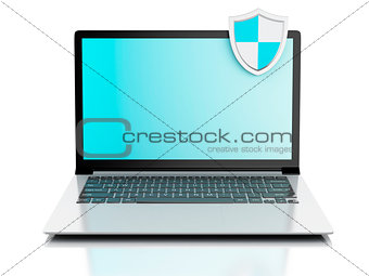 3d laptop with shield. internet security, antivirus concept