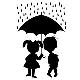 Pair of children staying under an umbrella