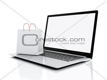3d Laptop and White Shopping Bags. E-commerce concept