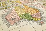 Australia on a vintage map