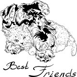 Vector sketch cute dog with cat hand drawing vector