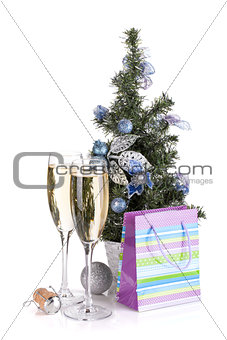Champagne glasses, firtree and christmas decor