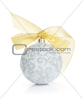 Christmas bauble with golden ribbon