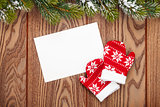 Christmas greeting card or photo frame and mittens