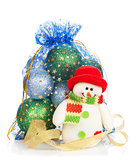 Christmas bag with baubles and snowman