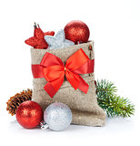Christmas bag with baubles and fir tree