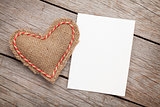 Photo frame or greeting card and valentines day toy heart