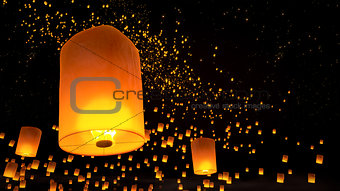 beautiful Lanterns flying n the night sky