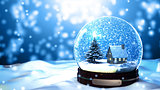 Christmas Snow globe Snowflake with Snowfall on Blue Background