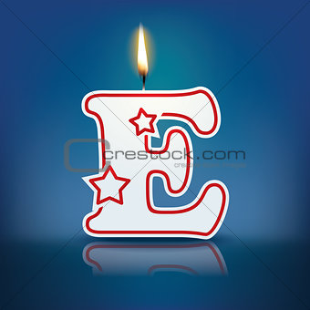Candle letter E with flame