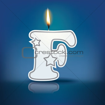 Candle letter F with flame