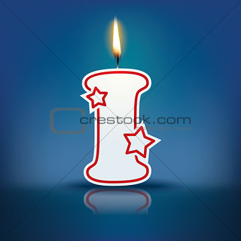 Candle letter I with flame