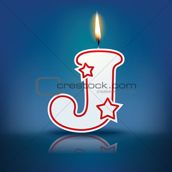 Candle letter J with flame