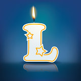 Candle letter L with flame
