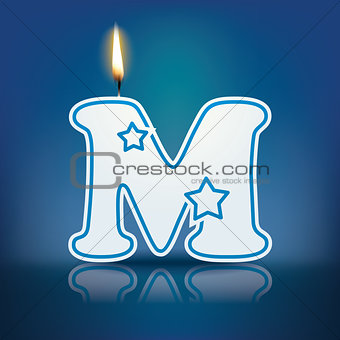 Candle letter M with flame