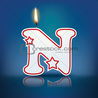 Candle letter N with flame