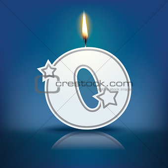 Candle letter O with flame