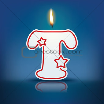 Candle letter T with flame