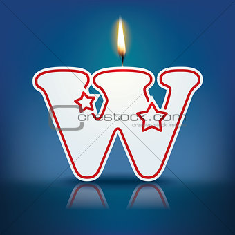 Candle letter W with flame