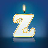 Candle letter Z with flame
