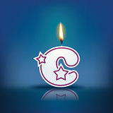 Candle letter c with flame