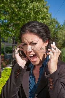 anger woman shouting two phones