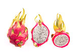 Set of dragon fruits, whole and cut in half