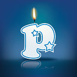 Candle letter p with flame