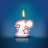 Candle letter r with flame
