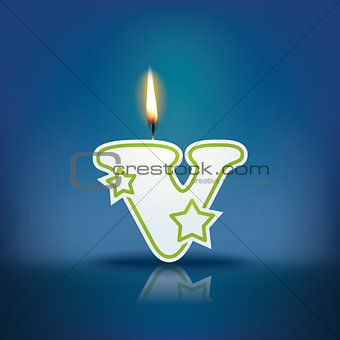 Candle letter v with flame