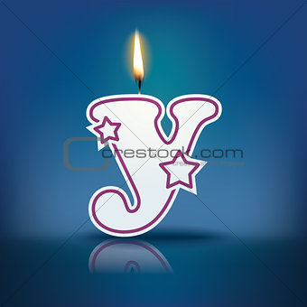 Candle letter y with flame