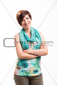 Beautiful woman standing over a white background