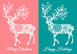 Christmas cards with deer, vector set