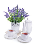 tea for two and lavender flowers isolated on white