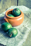 Fresh feijoa on the wooden table