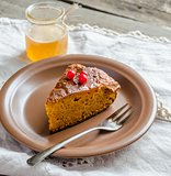 Carrot pie decorated with fresh berries