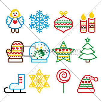 Christmas colored icons with stroke - Xmas tree, angel, snowflake
