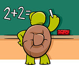 turtle at blackboard cartoon illustration