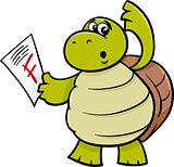 turtle with f mark cartoon illustration