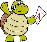 turtle with a mark cartoon illustration