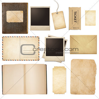 Old mail, paper, book, polaroid frames, stamp isolated