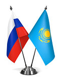 Kazakhstan and Russia - Miniature Flags.