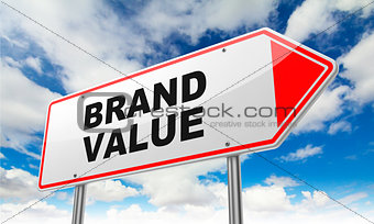 Brand Value on Red Road Sign.