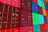 Stacked Colorful Cargo Containers.